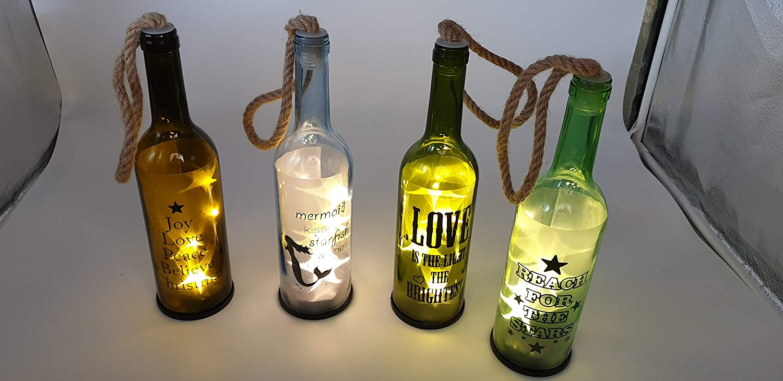 ISOTRONIC Smoked Vintage - Botella decorativa de cristal con luz LED (4 unidades)