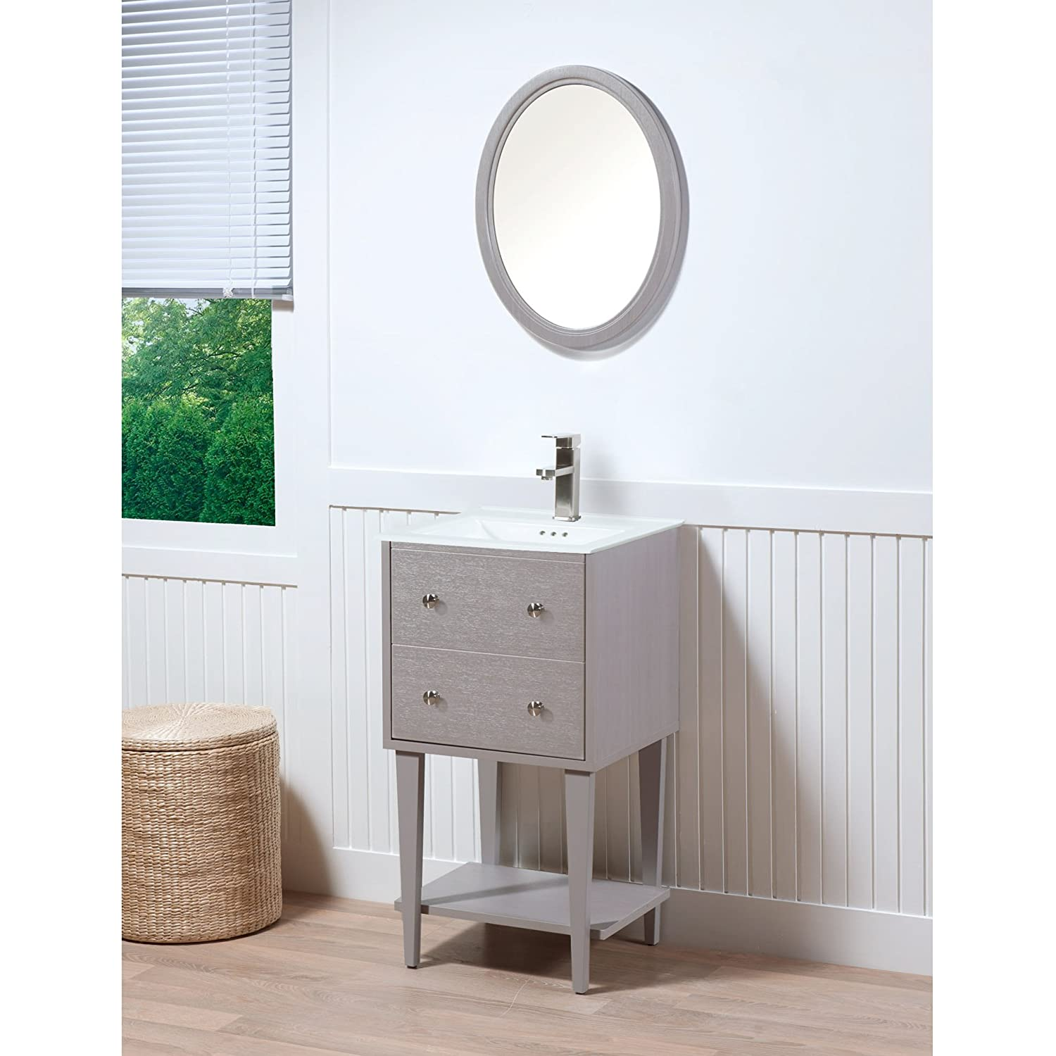 MAYKKE Fawn 19 Inch Bathroom Vanity Set in Birch Wood Drift Grey Finish  Single Gray. MAYKKE Wren 19 Inch Bathroom Vanity Set in Birch Wood White Finish