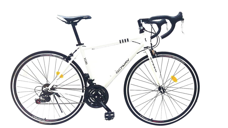 GOWAY(ゴーウェイ) XC680 700×23C ロードバイク シマノSIS仕様18段変速 初心者向け ライトチェーンロック付き [並行輸入品] B075C8L5NKホワイト
