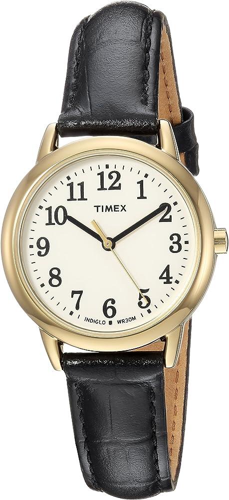 ad10b5855 Timex Women's TW2R63300 Easy Reader Black Croco Pattern Leather Strap Watch