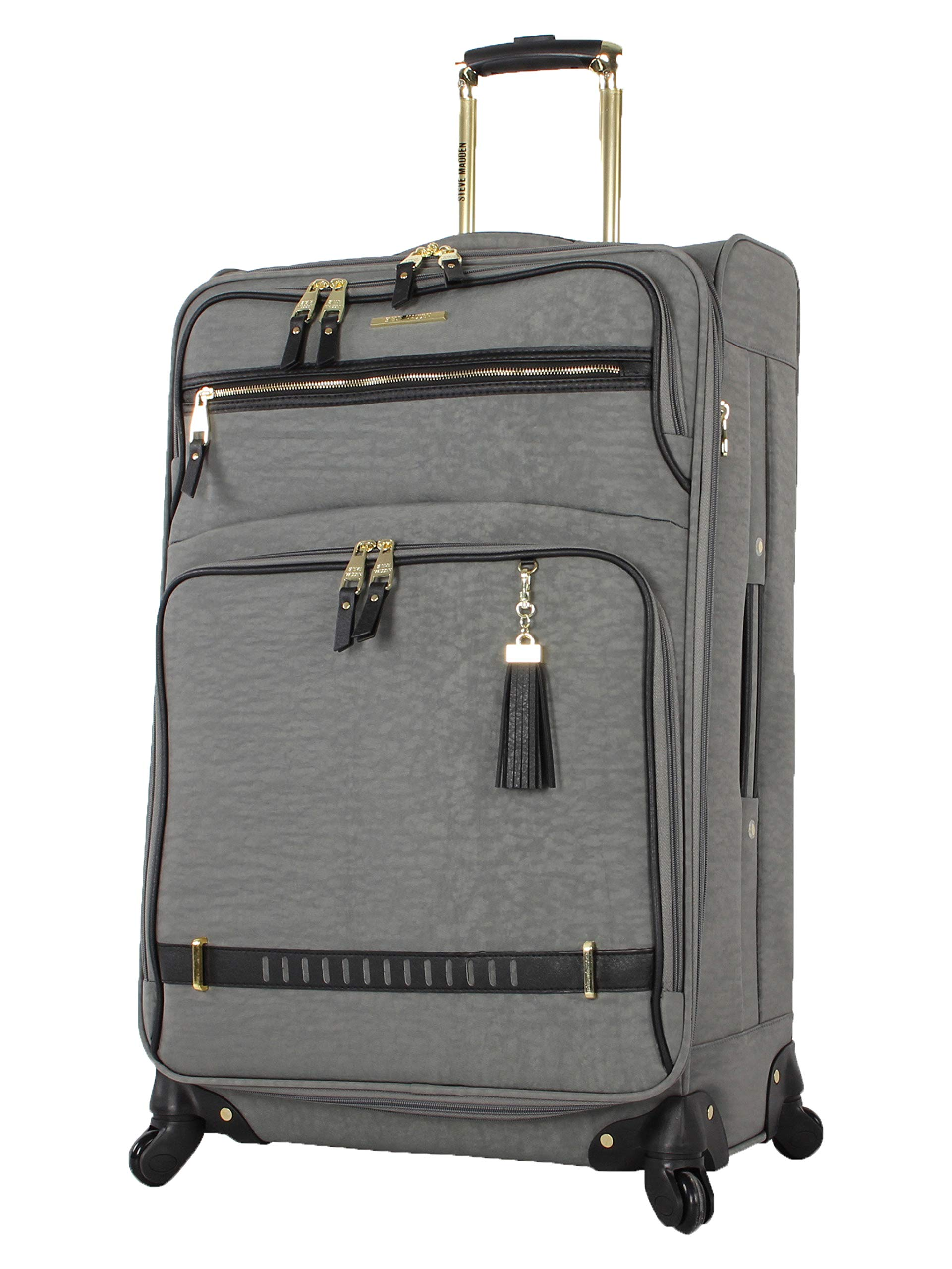 Steve Madden Luggage 24'' Expandable Softside Suitcase With Spinner Wheels (Peek A Boo Gray, 24in)