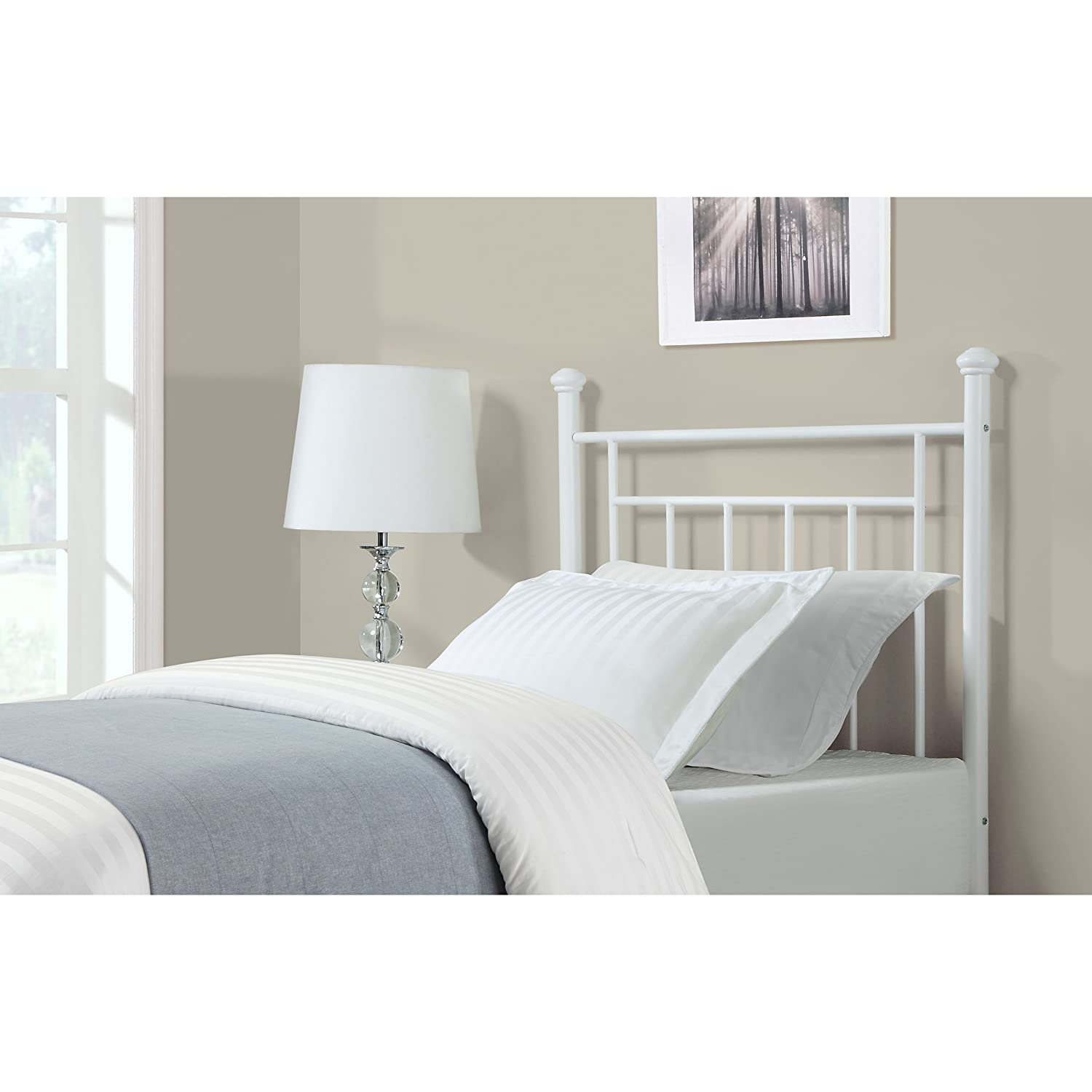 amazon com dorel living metal headboard twin white