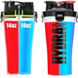 Hydra Cup - Dual Threat, Shaker Bottle, 28 Ounce Shaker Cup, Made in USA (1 bottle, Blue Red)