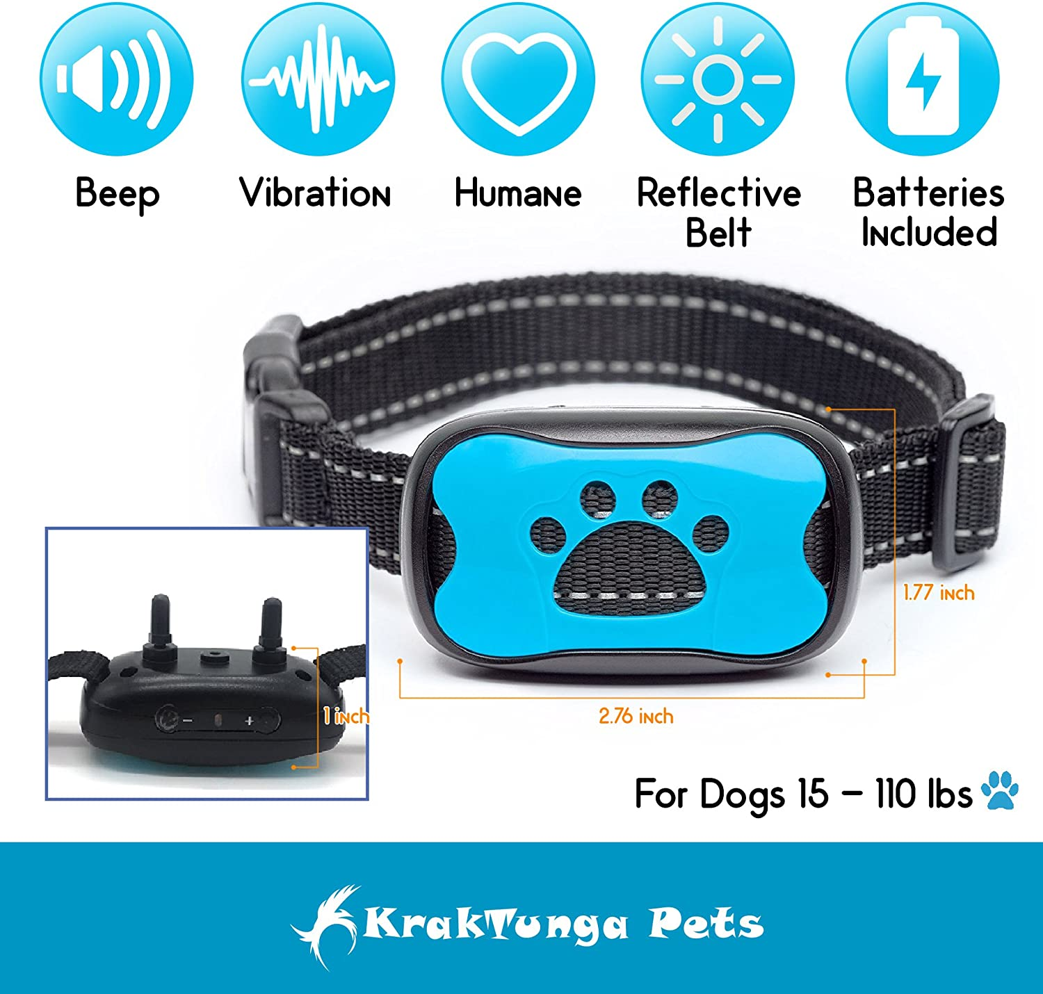 Krak-Tunga Anti Bark Collar, No Shock Dog Bark Collar-Training Collar With Vibration Sound -No Harm-Free Gift Led Clip