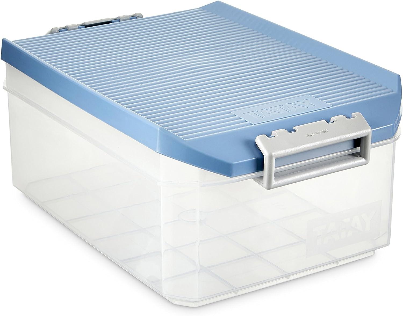 TATAY 1150207 - Caja de Almacenamiento Multiusos con Tapa, 4.5l de Capacidad, Plástico Polipropileno Libre de BPA, Azul, 12 x 30 x 19 cm