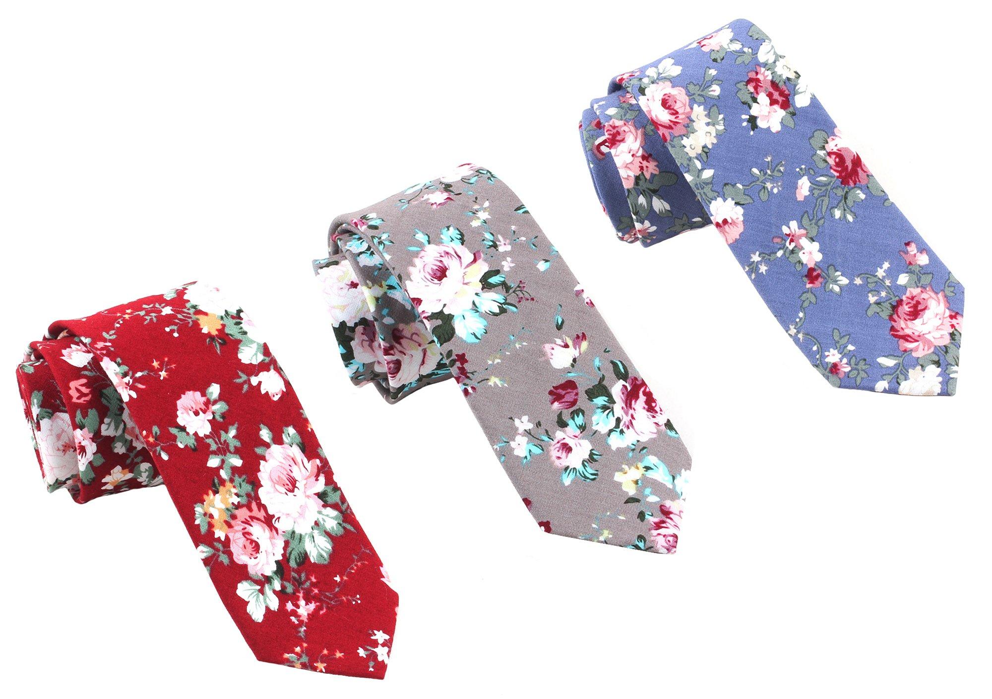 Levao-Men's Skinny Tie Floral Cotton Neck Ties for Men 210368,69,78 Mix3-F