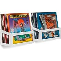 Hudson Hi-Fi Wall Mount Vinyl Record Storage 25-Album Display Holder - White Pearl - Two Pack