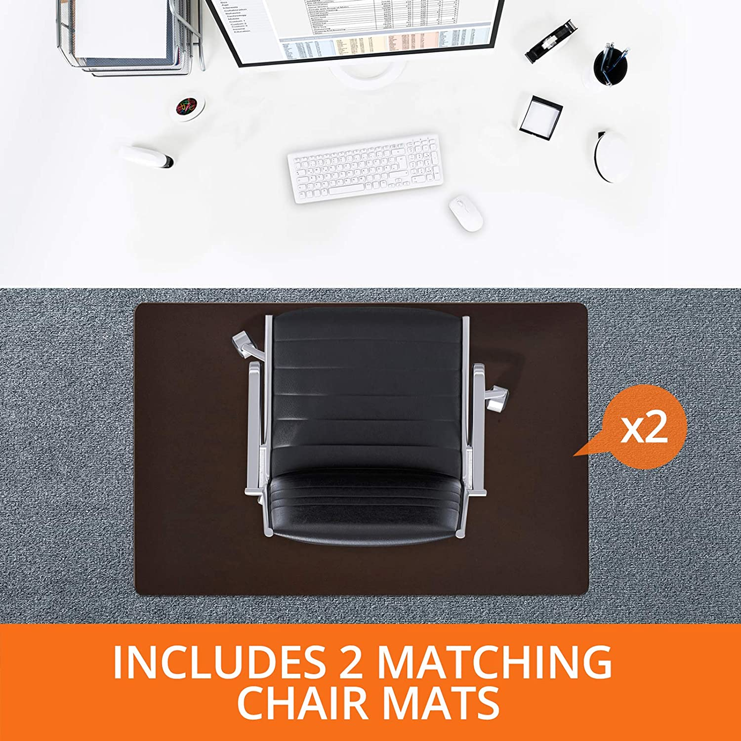 Chair Mats for Carpeted Floors Two Piece Super Saver Pack of Office Desk Accessories Set of Two Carpet Protector for Desk Chairs 36 x48 48 x60 – Brown