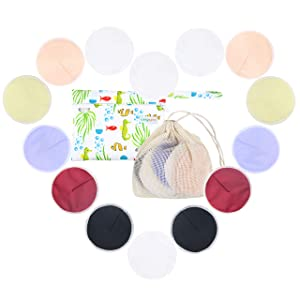 Langsprit Leak-Proof Reusable Bamboo Nursing Pads(14 Pack),Super Absorbent Washable Breast Pads with 2 Bonus Free Laundry Bag & Storage Bag(Contoured)