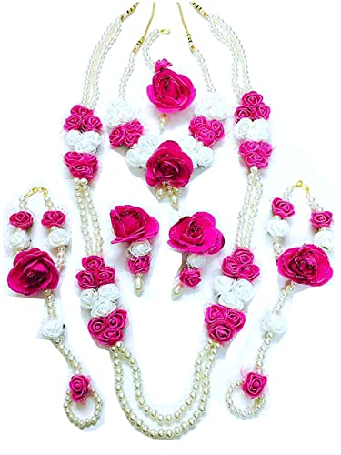 Buy quvyarts floret jewellery white pink flower jewellery set with 2 quvyarts floret jewellery white pink flower jewellery set with 2 necklaces earrings maang tika mightylinksfo