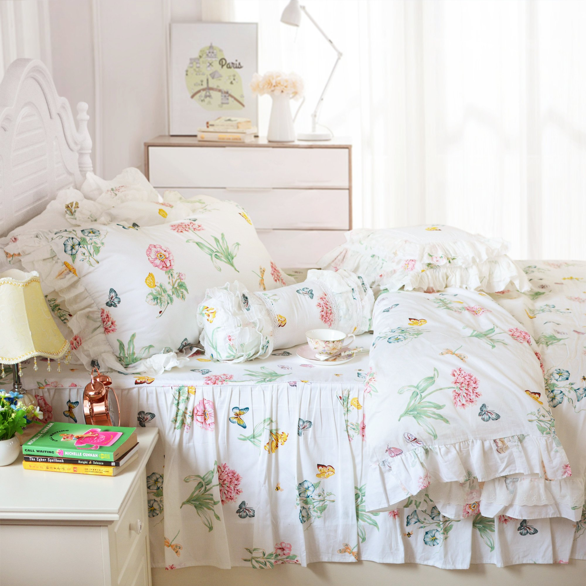 FADFAY Butterfly Meadow Bedding,Floral Butterfly Print Bedding Set,Elegant French Country Style Vintage Ruffles Duvet Cover Bed Sets with Lace Queen Size