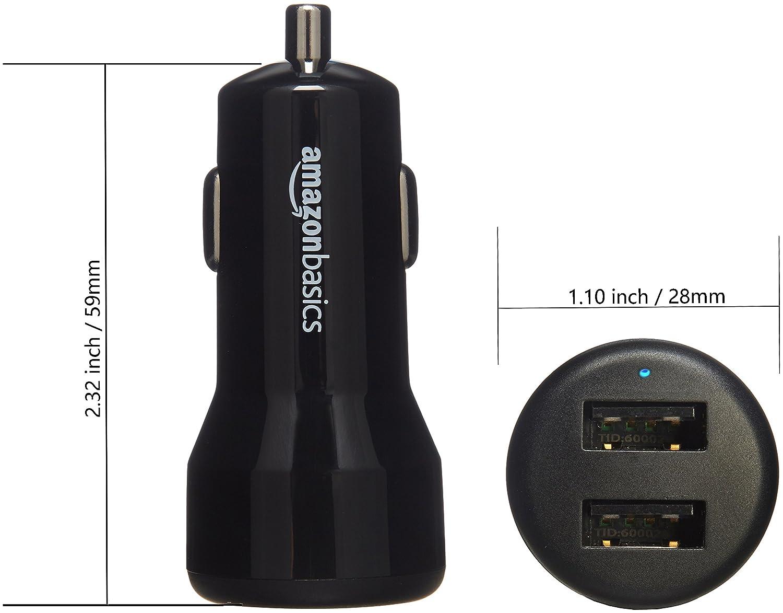Cargador de coche 2 puertos USB Basics Negro // Rojo de 4,8 A // 24 W para dispositivos Apple y Android