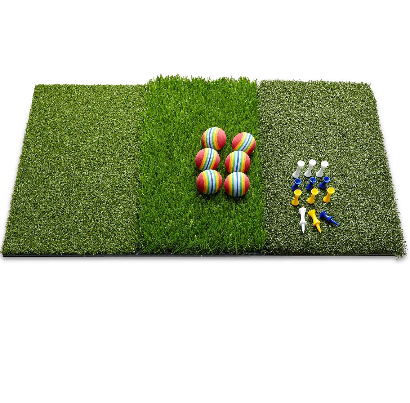 """wosofe Golf Mat Chipping Hitting 25"""" x16"""" 3in1 Foldable - Practice Turf Backyard or Indoor Portable Premium Quality Realistic Multi Length Grass + 12 Extra Tees"""