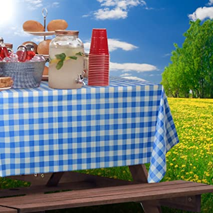 Blue Gingham Picnic / Party Plastic Tablecloth Roll, Disposable Picnic  Colored Table Cloth On A