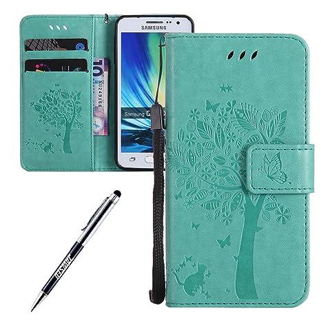 Carcasa Samsung Galaxy A3 2015, Funda Samsung Galaxy A3, JAWSEU Samsung Galaxy A3(2015) SM-A300F Tapa Trasera Carcasa Diseño Empalme Cuero Billetera ...