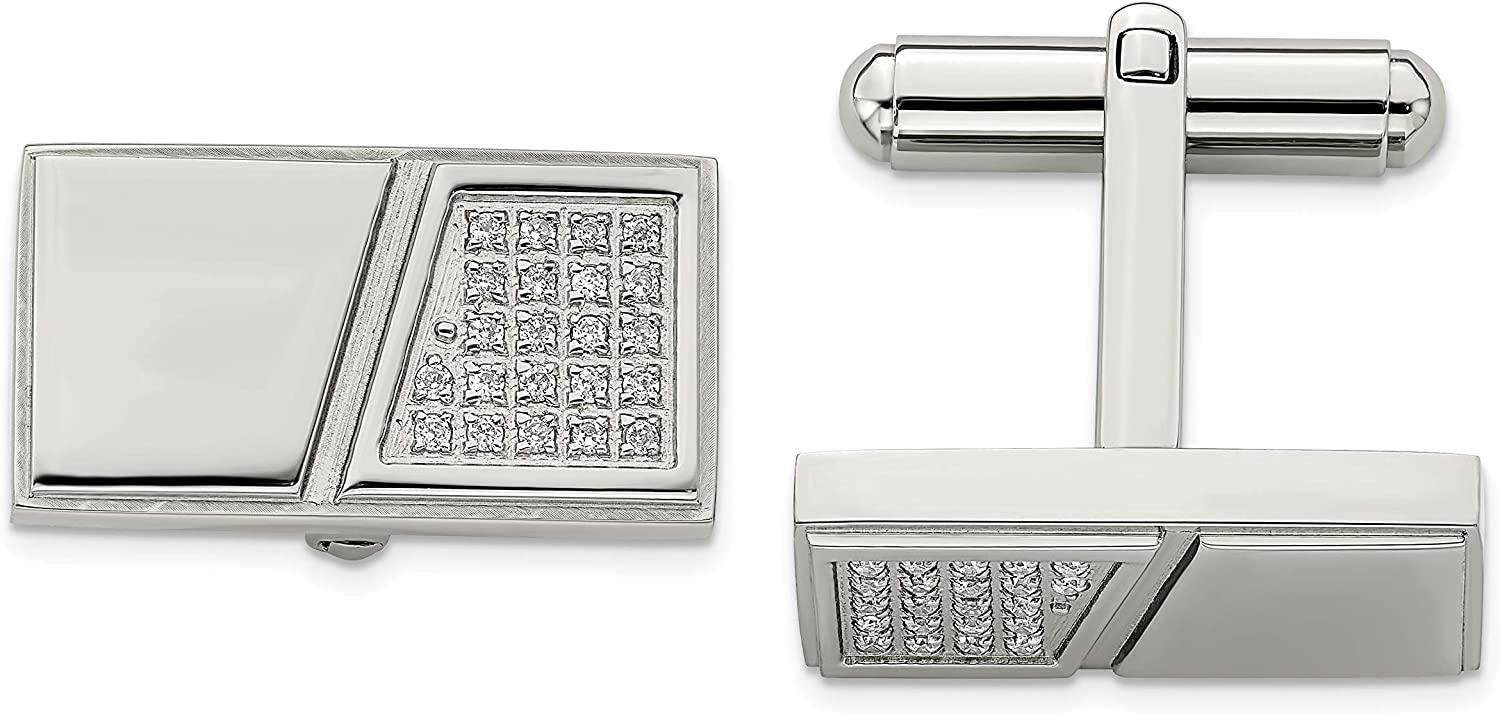 Stainless Steel Engravable Polished with Synthetic CZ Cuff Links