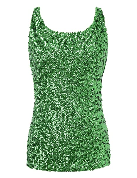 e2c8d2a4 PrettyGuide Women Shimmer Glam Sequin Embellished Sparkle Tank Top Vest Tops  S Green
