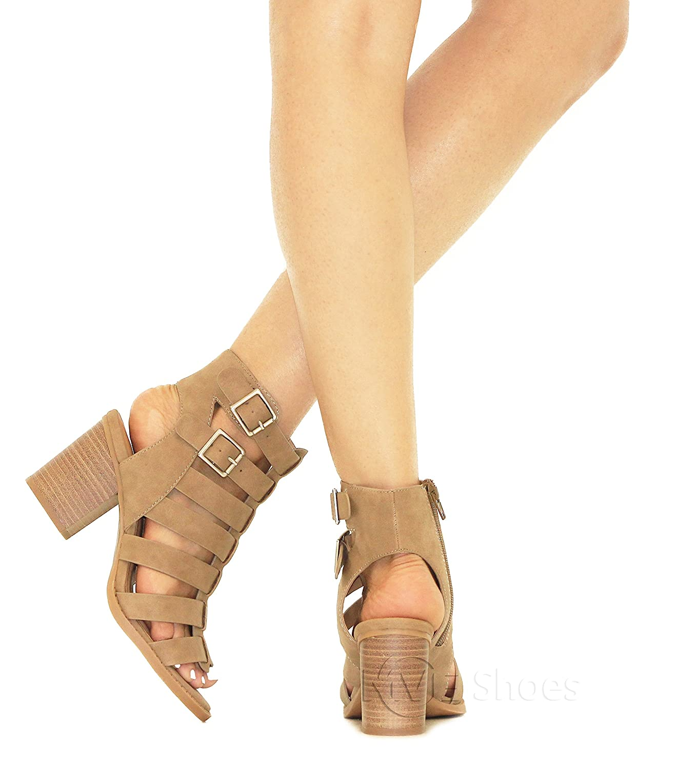 MVE Shoes Women's Open Toe Cut Out Mid Heel Sandal - Ankle Strap Faux Leather Dress Shoes - Sexy Stacked Sandal B0799QJVR3 6 B(M) US|Taupedispu*n