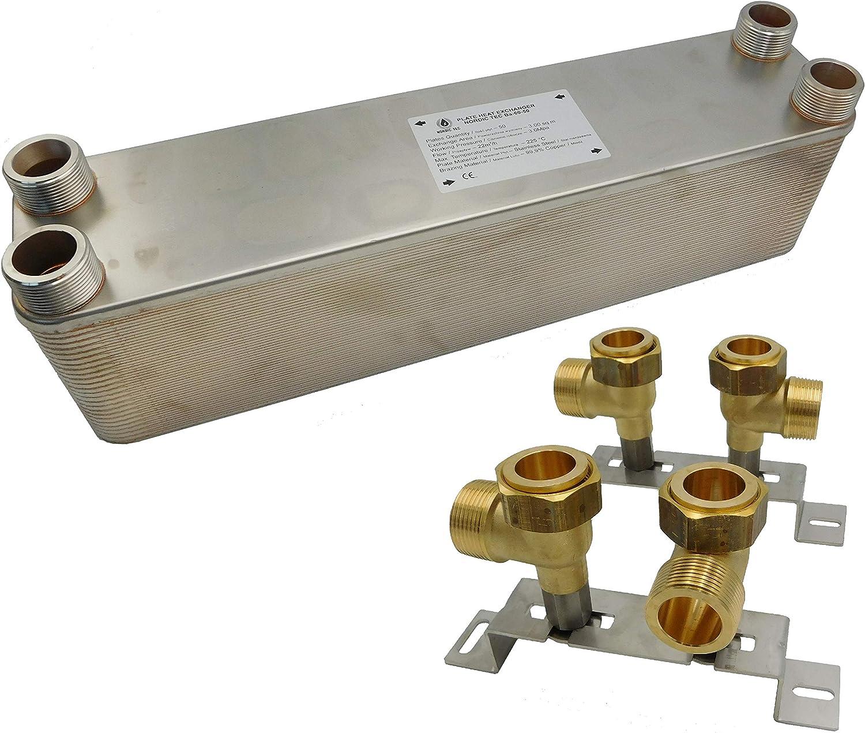 """30 platten Edelstahl W/ärmetauscher Plattenw/ärmetauscher NORDIC TEC Ba-60-30 330kW 5//4/"""""""