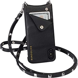 Bandolier Sarah Crossbody Phone Case and Wallet - Black Leather with Silver Detail - Compatible with iPhone XR Only
