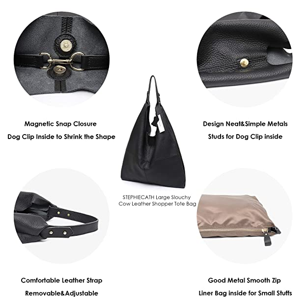 Amazon.com  STEPHIECATH Women s Handbag Genuine Leather Slouchy Hobo  Shoulder Bag Large Casual Soft Handmade Tote Bags Ladies Vintage Bucket  Snap Shopping ... 0270288fe0243