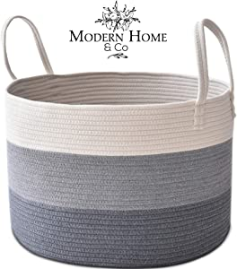 Modern Home & Co XXL Cotton Rope Basket 20X13.3 Woven Baby Laundry Baskets Storage Bins,Thread Hamper Decorative Clothes Wicker Bin With Long Handles Extra Large For Blanket,Pillows,Toy,Coiled Grey