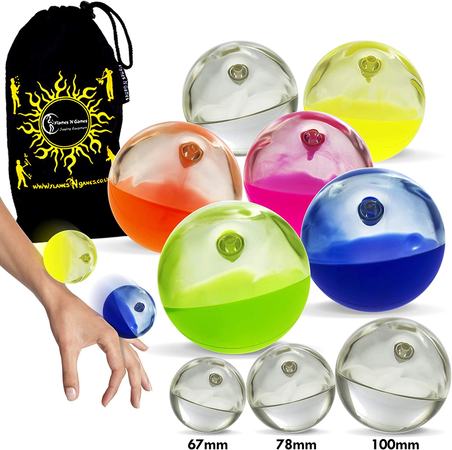 Body Rolling Manipulation and Includes Flames N Games Bag Orange, 67mm Available in 3 Sizes!Set is for 1 SIL-X Ball Play SIL-X Implosion Silicone Stage Balls for Contact Juggling