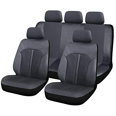 Sojoy IsoTowel Breathable Luxury Fabric Leatherette Full Set Car Seat Covers, (Airbag & Split Ready), Solid Black Color - Fit Most Car, Truck, SUV, Or Van: Automotive