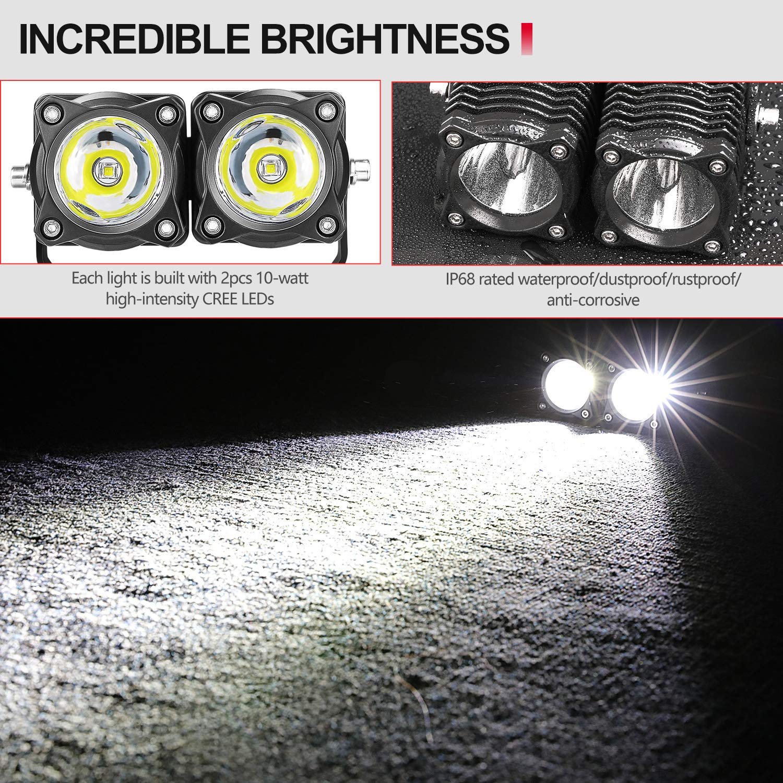 LED Pods SWATOW 4/×4 2PCS 40W Square LED Work Lights Off Road LED Lights CREE LED Driving Light Pod Spot Light Cubes for Truck SUV UTV ATV Boat Motorcycle