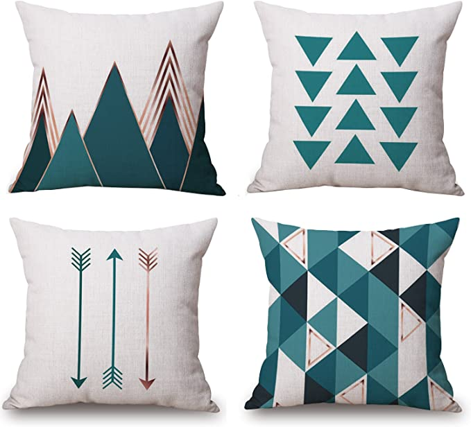 Bluettek Modern Simple Geometric Style Soft Linen Burlap Square Throw Pillow Covers 18 X 18 Inches Set Of 4 Green Home Kitchen