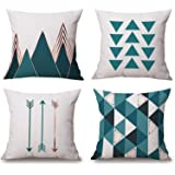 Modern Simple Geometric Style Decorative Cotton Linen Blend Throw Pillow Covers Set, 18 x 18 Inches, Pack of 4 (Green)