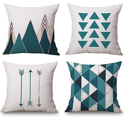 Amazon.com: BLUETTEK Modern Simple Geometric Style Soft Linen Burlap ...