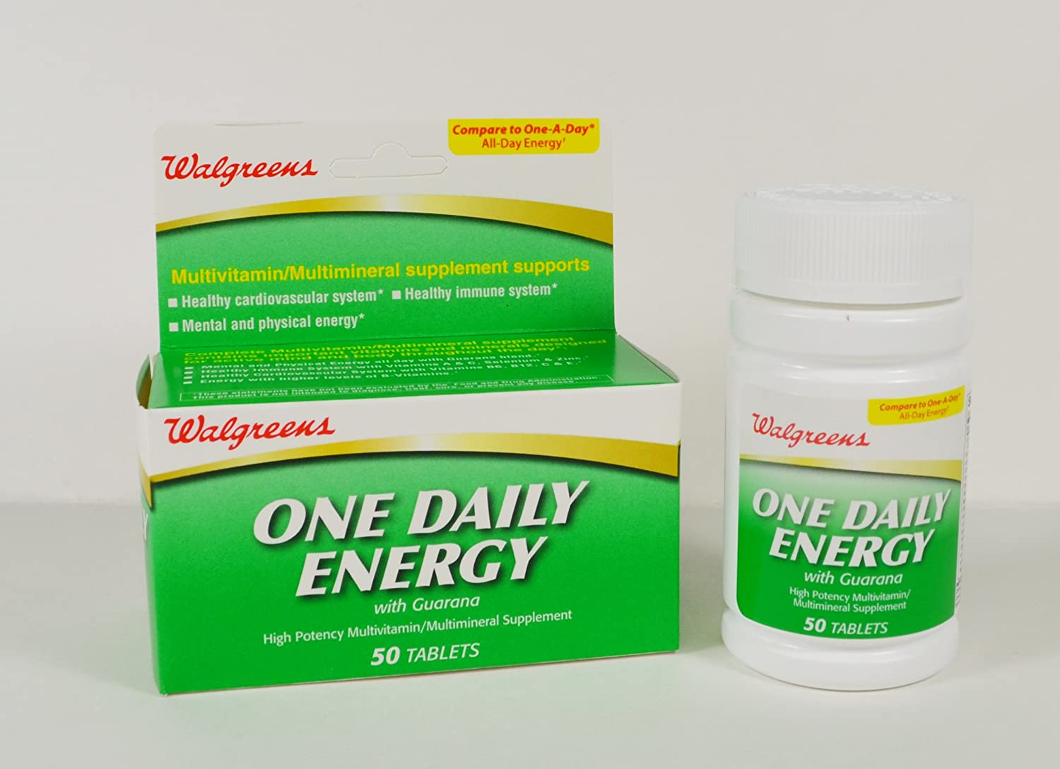 Amazon.com: WALGREENS ONE DAILY ENERGY WITH GUARANA 50 TABLETS: Health & Personal Care