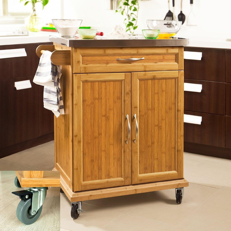 SoBuy Luxus-Küchenwagen aus hochwertigem Bambus mit Edelstahltop ...