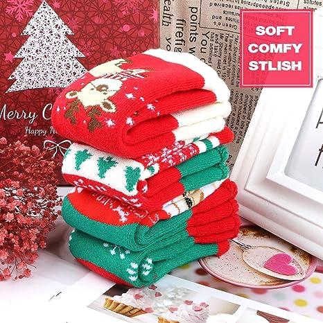 Amazon.com: Gifort 8 Pairs Christmas Holiday Socks Christmas Socks Set with 4 Pairs of Adult Socks and 4 Pairs of Child Socks (2-6 years old) Warm Winter ...