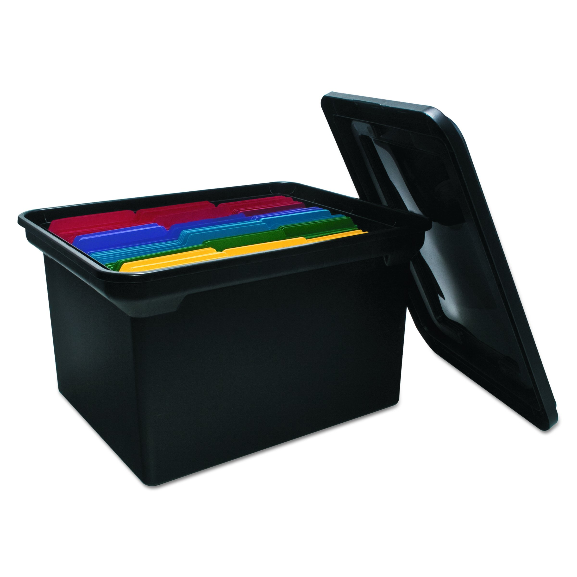ADVANTUS File Tote with Lid, 19 x 15.5 x 11 Inches, Black (34052)