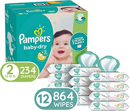 **BEST DEAL IN US** Pampers Baby Dry One-Month Supply Diapers Choose Your Size