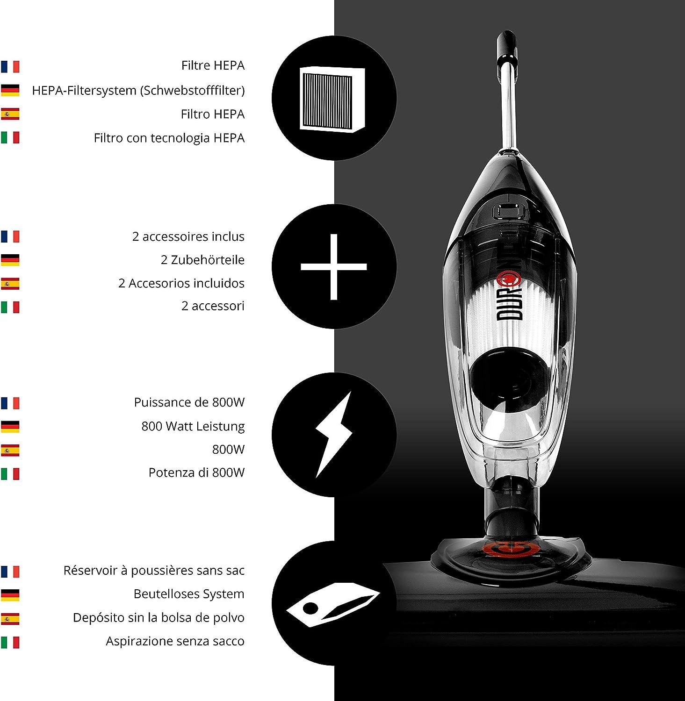 Duronic VC7 /BK (Reacondicionado) Aspiradora Escoba sin Bolsa Vertical y de Mano 2 en 1 de 800 W + Filtro HEPA + Accesorios Coche: Amazon.es: Hogar