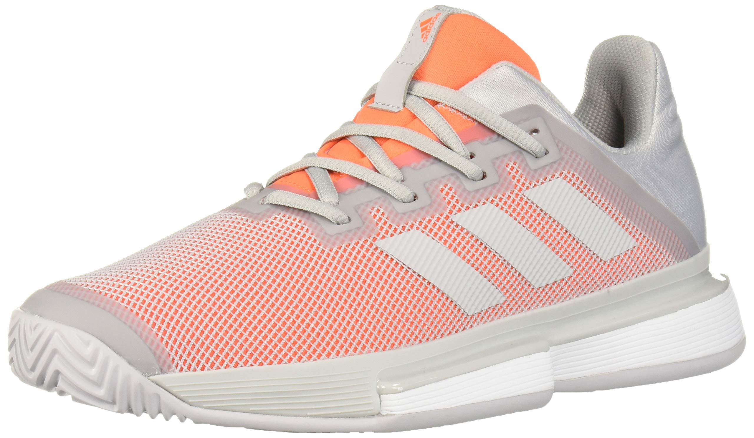adidas Women's SoleMatch Bounce Tennis Shoe, Light Grey Heather/hi-res Coral, 5 M US