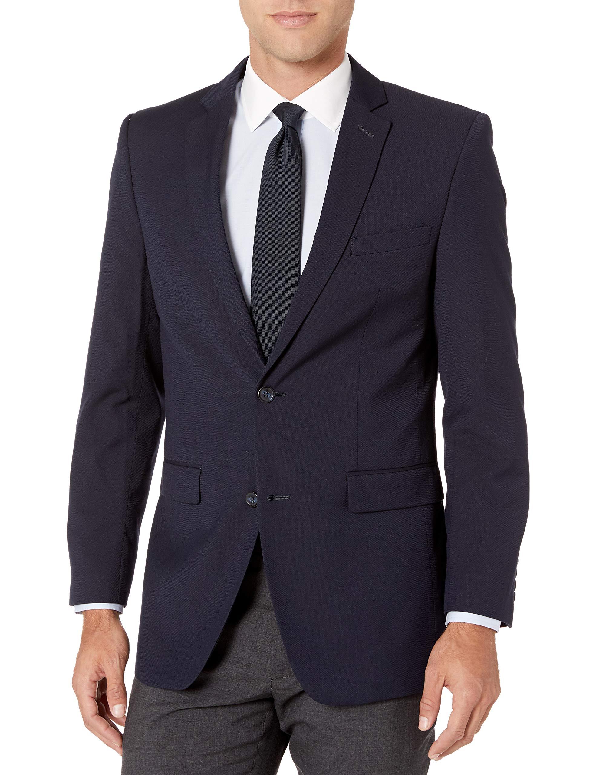 Perry Ellis Men's Slim Fit Blazer, Navy Hopsak, 36 Regular by Perry Ellis
