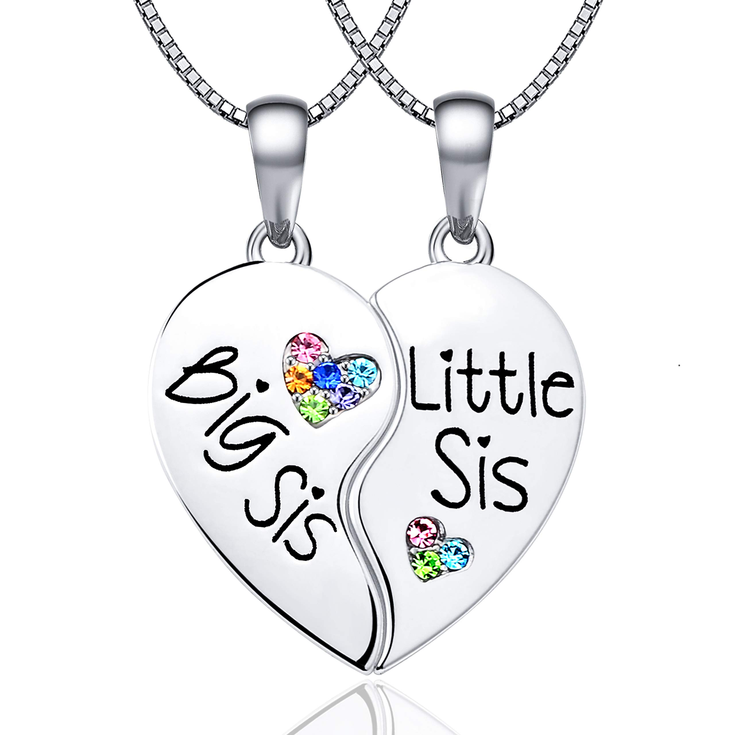 KINGSIN Sisters Necklaces for 2 Big Sis Little Lil Sis Pendant Enhancer Twin Sorority Heart Halves Matching BFF Best Friend