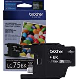 Brother Genuine High Yield Black Ink Cartridge, LC75BK, Replacement Black Ink, Page Yield Up To 600 Pages, LC75