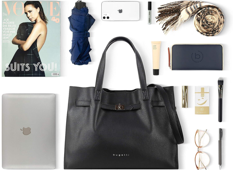 Bugatti Chiara Damen Tasche Schultertasche Handtasche Umhängetasche groß schwarz