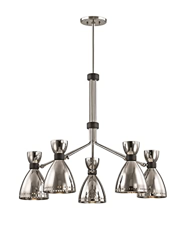 Beautiful Hudson Valley Lighting 4145 PN Solaris 5 Light Chandelier, Polished Nickel