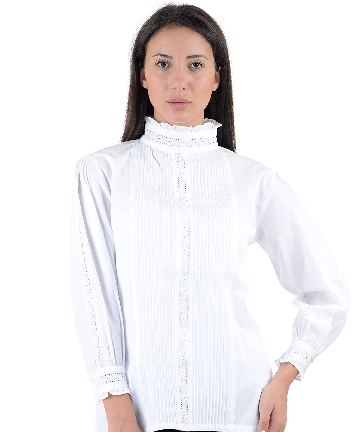 Victorian Blouses, Tops, Shirts, Vests White Cotton Victorian/Edwardian Vintage Reproduction Blouse A67-WT. Sizes US 4 To 30 $59.95 AT vintagedancer.com