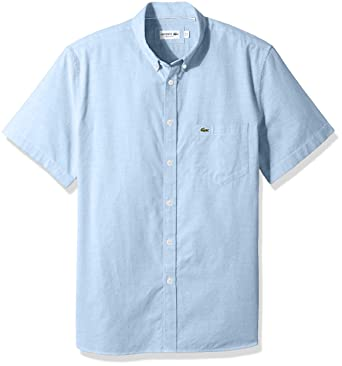 6afd12f2 Lacoste Men's Short Sleeve Button Down Oxford Solid Shirt Regular Fit at  Amazon Men's Clothing store: