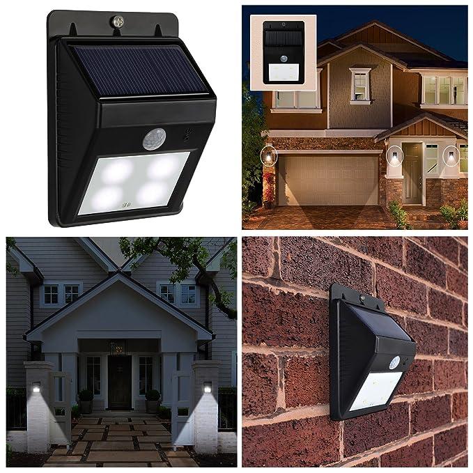 AMOS 4 LED Luz Solar Brillante de Seguridad Recargable de Energía Solar con PIR Sensor de Movimiento Luz Exterior Impermeable Lámpara de Pared Jardín Garaje ...