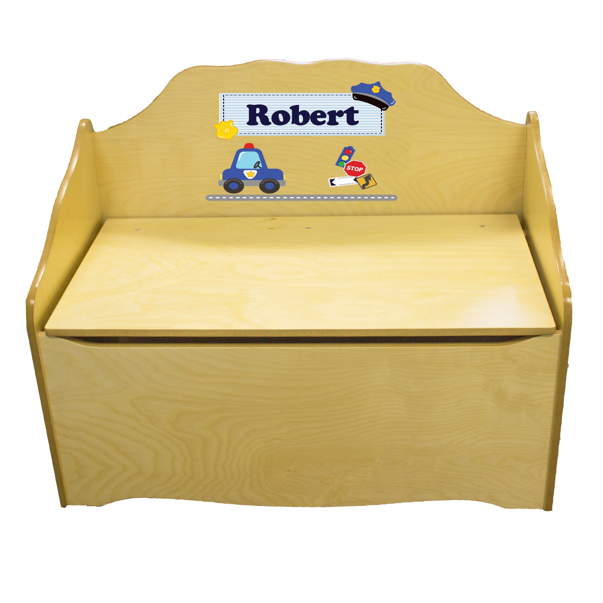 Personalized rtdPolice Childrens Natural Wooden Toy Chest