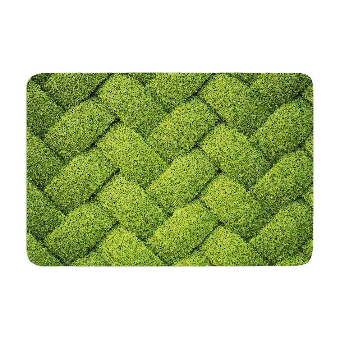 Kess InHouse Susan Sanders Ivy Basket Green Weave Memory Foam Bath Mat 17 by 24