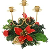 Red & Gold Decorated Triple Tape Candle Holder Table Christmas Decoration - Size 22cm